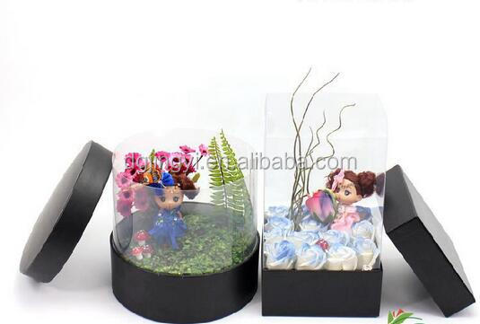 2016 clear plastic transparent gift flower box packaging made in dongguan