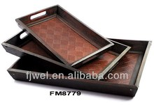 Rectangle Antique Wooden Serving Trays in Check Faux Leather Design