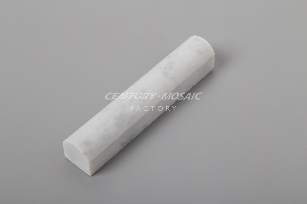 "12"" Polished Carrara Marble Liner Mouldings Pencil Bullnose"