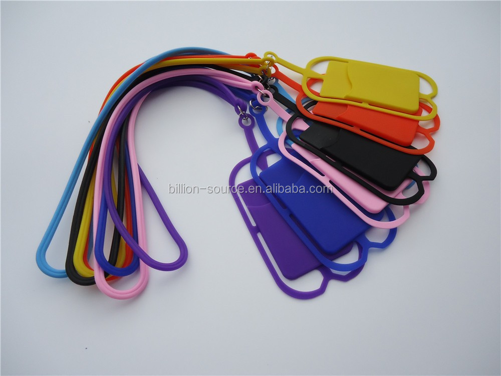 Strap Lanyard Cell Phone Silicone Case with Card Holder