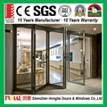 Villa house power coating low-e glass aluminum alloy bi fold door with screen