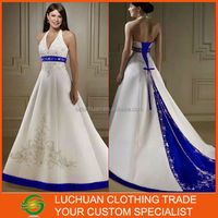 Hot Sale Halter Neckline Beaded Satin A-line Royal Blue And White Wedding Dresses