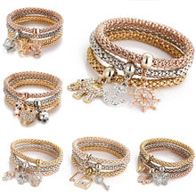 fashion jewelry latest ladies charm bracelets, silver gold rose gold 3 layers crystal bracelet