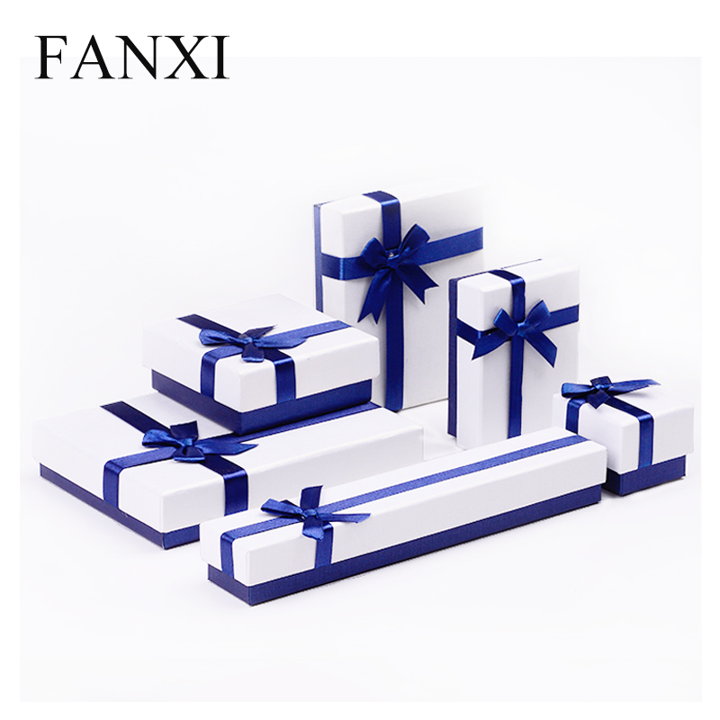 FANXI Wholesale Cheap Custom Boxes with Silk Ribbon Velvet Foam Insert Ring Necklace Pendant Jewelry Gift Packaging Paper Box