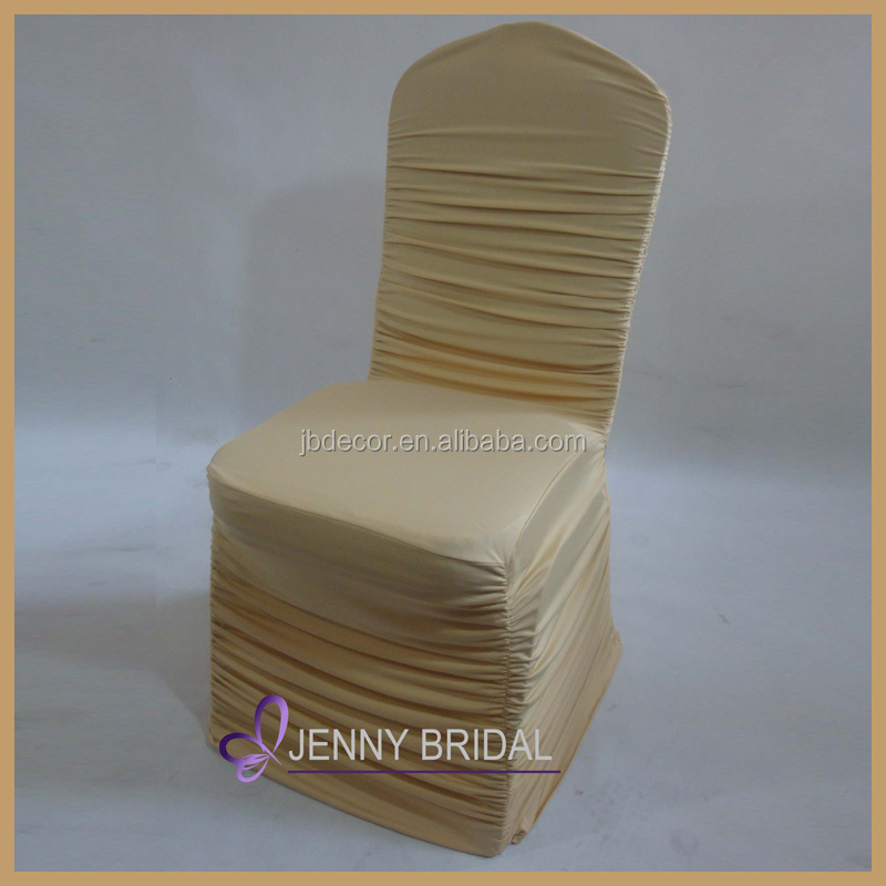 C010D wholesale elegant ruched champagne spandex chair cover
