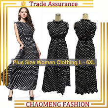9008# Readymade Women Clothing Sleeveless Polka Dot Floral Casual Chiffon Maxi Dresses Long Vintage Boho Summer Dress Plus Size