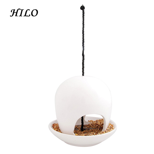 White and Black Outdoor Hanging Ceramic Bird Feeder