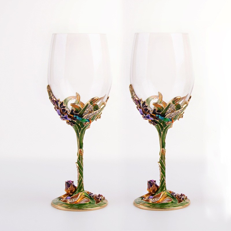 Hot Sale Decorative Champagne Glass Gift Craft Enamel Color Goblet Crystal Glass Wine Cups