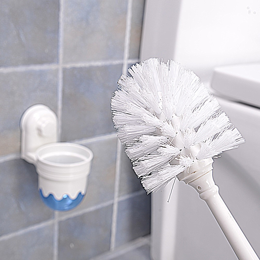 2 In 1 Wall Mounted Bathroom Cleaning Brush Set Suction Cup Hanger Plastic Toilet