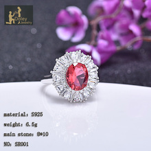 Customized gordeous 925 sterling silver ruby zircon ring
