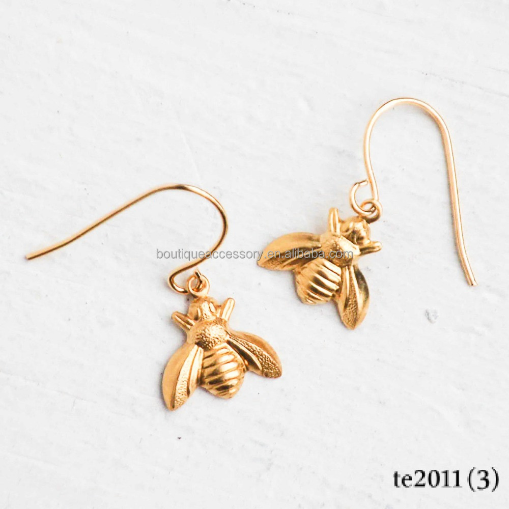 Gold Honey Bee Earrings Bumble Bee Garden Summer Insect Bug Teen Jewelry