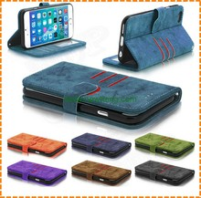 Retro PU Leather Cover with Card Slot Magnetic Wallet Stand Flip Leather Cell Phone Case for iPhone 7