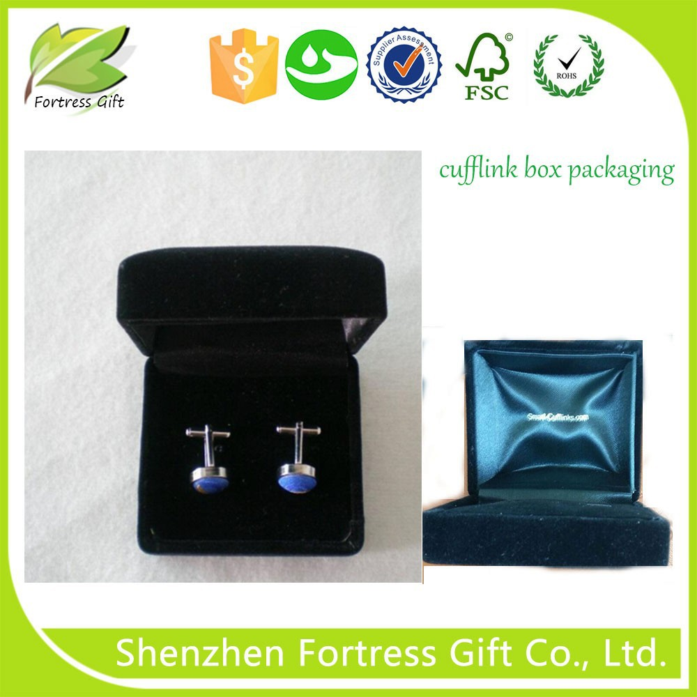 Small Velvet Cufflink Gift Box Wholesale Packaging