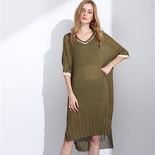 new style fashion big v neck summer knit dress for women