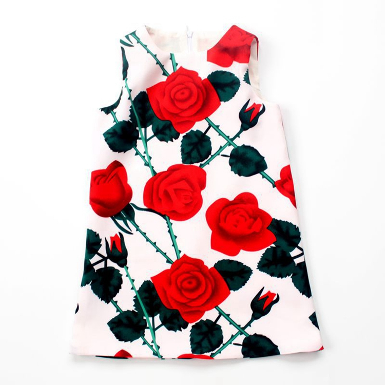 Rose printed sleeveless skirt wholesale short dresses children girl birthday party frock baby dress cutting
