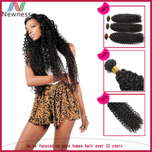 No Chemical Virgin Peruvian Jerry Curl Human Hair Weave Extensions