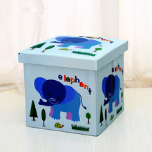 Folding Leather Animal Cartoon Design Stool Seat Ottoman And Storage Box Small Cube