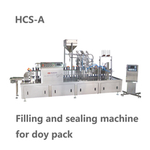 Filling and sealing machine for doy pack
