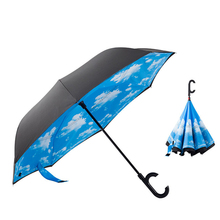 YH1703 Automatic double windproof upside down reverse inverted c handle umbrella