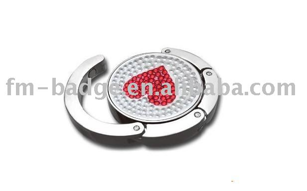 Fashion heart shaped bag hanger, foldable heart red diamond purse hanger/handbag hook/holder for women's accessory