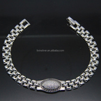 LIXIN 925 sterling silver smooth chain mirco man bracelet (HH07-105II)