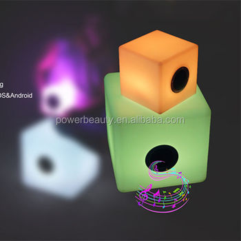 Remote control RGB LED rechargeable barbucue mini color changing cube speaker box