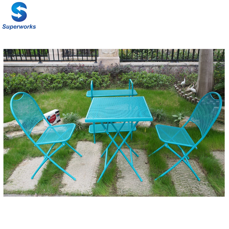 Portable metal garden balcony furniture folding steel bistro patio table chairs set