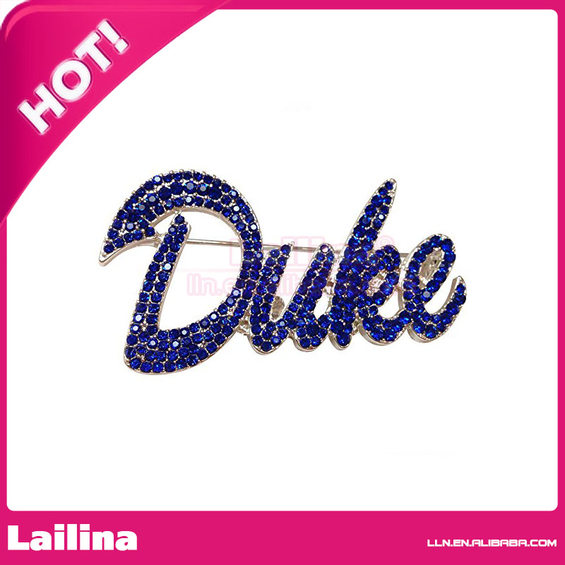 Duke University Crystal Emblem Brooch Pin