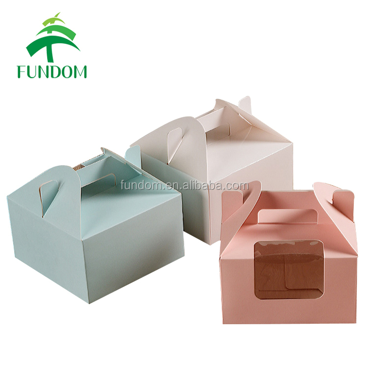 custom cardboard green pink plain white matte food packaging handle paper bakery cake box with window