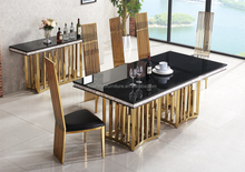 DH-1454 Wholesale stainless steel frame restaurant furniture dining table in kerala