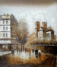 Good quality modern home decor paris street oil painting on canvas
