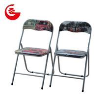 Glossy pvc photo printing cheap reading room decorative metal folding chair