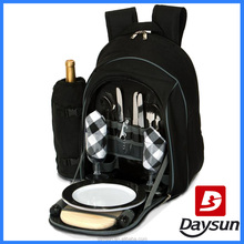 Insulated picnic bag 2 person picnic backpack with wine holder