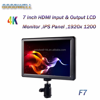 "2017 New Made in China 1920x1200 IPS panel 7"" Small Video Monitors LCD with High Contrast 1200:1 HDMI Input& Output"