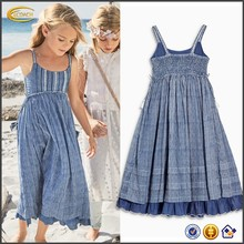 Ecoach Wholesale OEM Children Girls Blue Stripe Spaghetti Strap Maxi Dress Scoop Neck Empire Waist Beach Dresses for Kids
