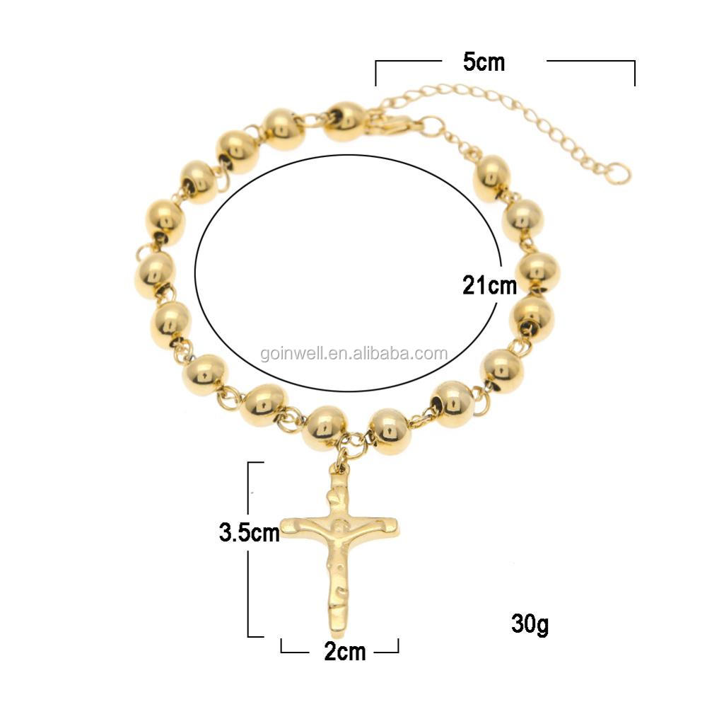 fashion cheap 8mm Stainless steel bracelet,hip pop bracelet, Catholic rosary