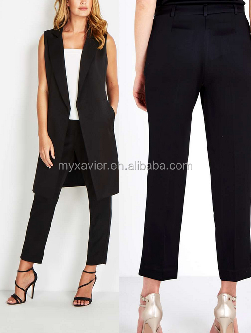2016 new custom hotsale stylish lady Black Tapered Leg formal Trousers for women