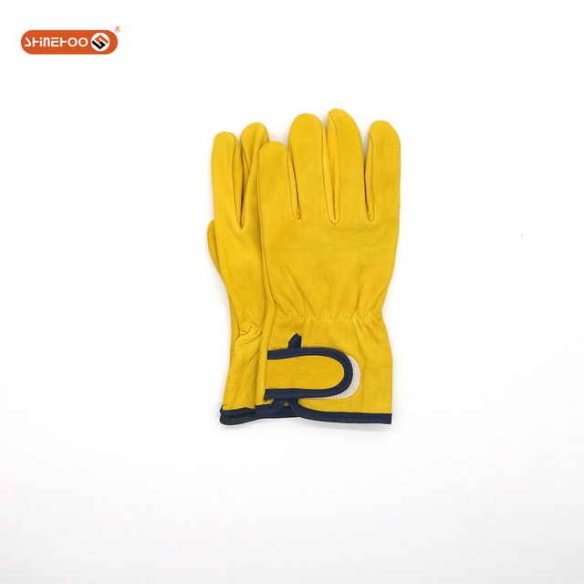 SHINEHOO Industrial Goat Leather Bus Driving Hand Gloves