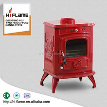 Factory Directprice cast iron enamel wood fireplace and wood burner furnace HF332E Red