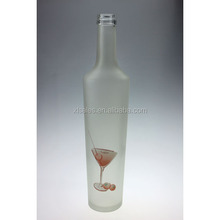 750ML FROSTED DECAL COSTUM DECORATE SPISIT GLASS BOTTLE