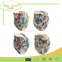 CBM117A leak guard printed cotton reusable bamboo cloth baby diapers