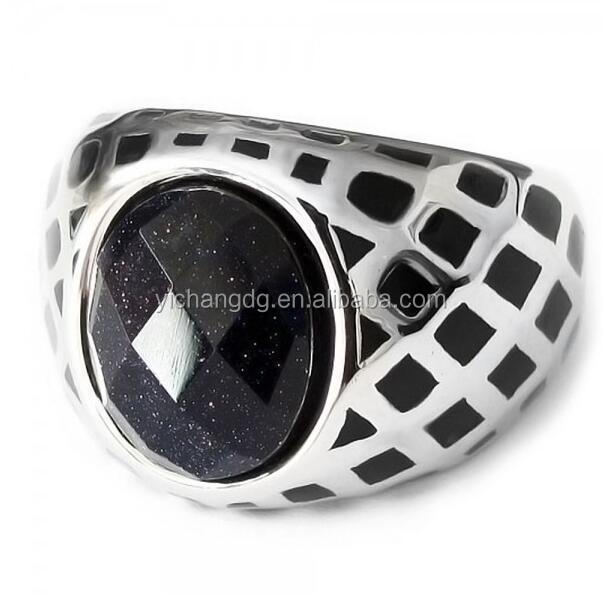 Men's Polished Stainless Steel Ring With Black Onxy Stone, Men's Cast Ring Wholesale