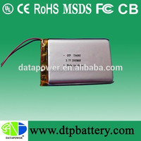 Rechargeable li polymer battery pack 3.7v 2000mAh