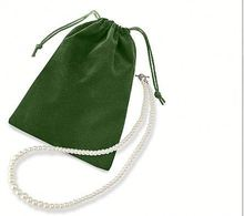 green velvet jewelry pouch with string