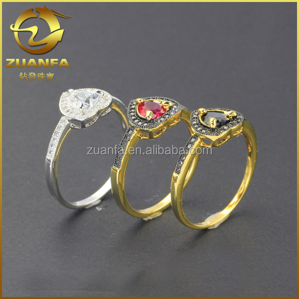 heart shaped cubic zirconia wholesale 925 sun silver ring jewelry with cz