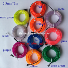 2nd generation promotional hot selling multi colors car decorative 1.3mm, 2.3mm , 3.2mm , 5.0mm bright el wire roll
