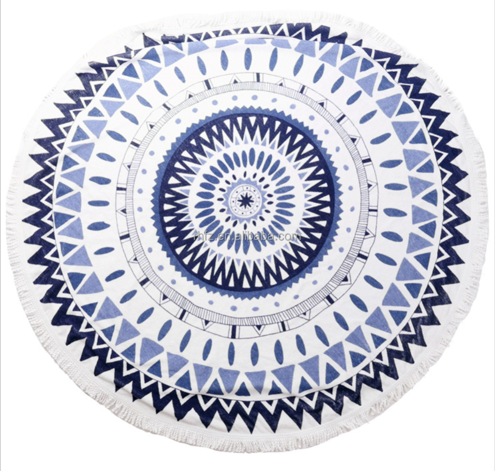 Super cool black and white Turkish design round beach towel with tassels for shawl