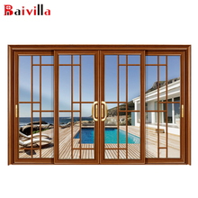 China Suppliers Aluminum Sliding Grill Design Soundproof Modern Entry Door With Wool Pile