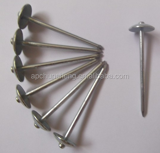Q195 Galvanized Umbrella Head Roofing Nails With Smooth Shank