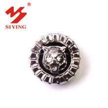 Factory sale zinc alloy metal button with embossed leopard tiger logo for jeans